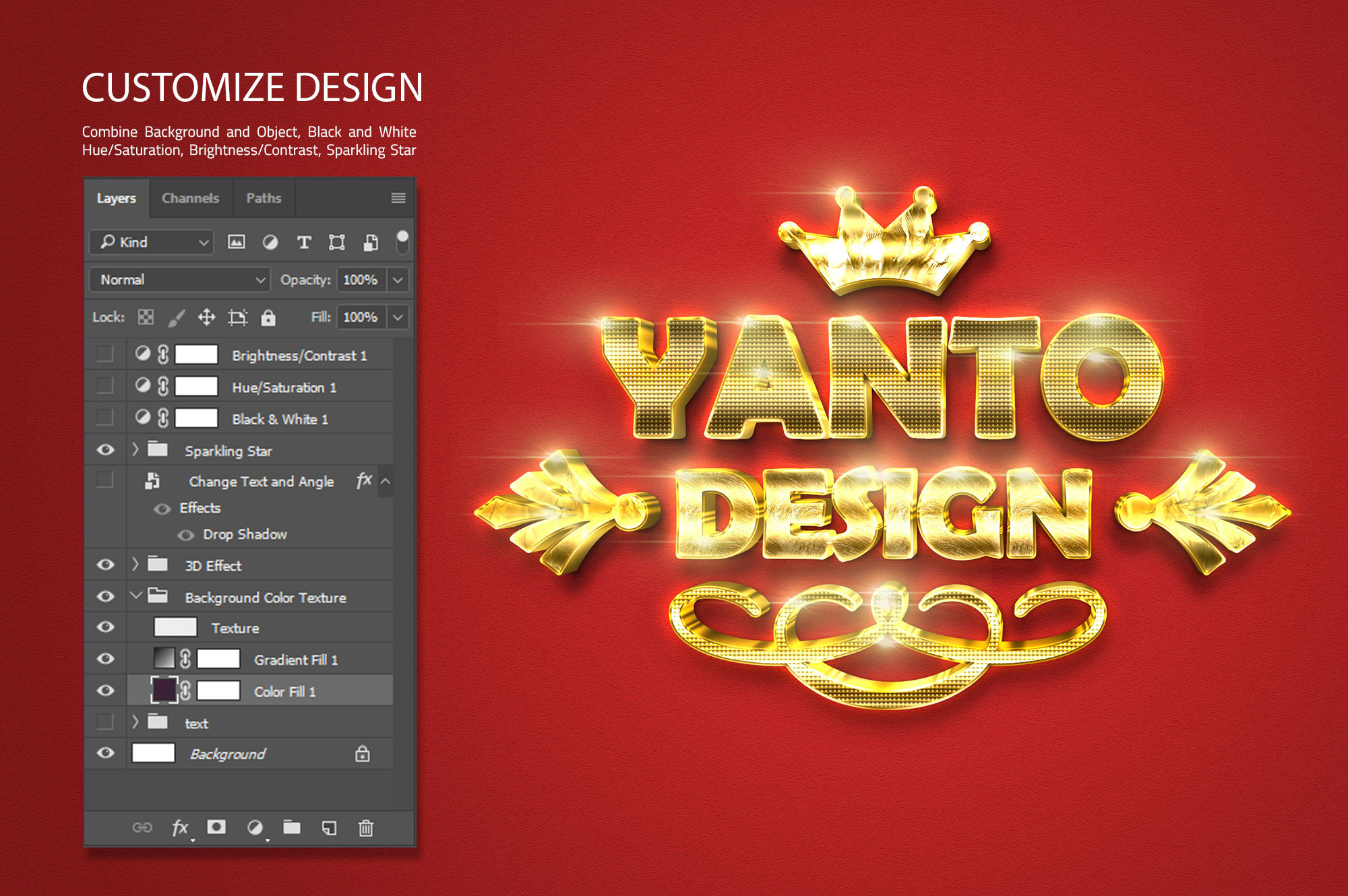 3D Gold Text Effect example image 7