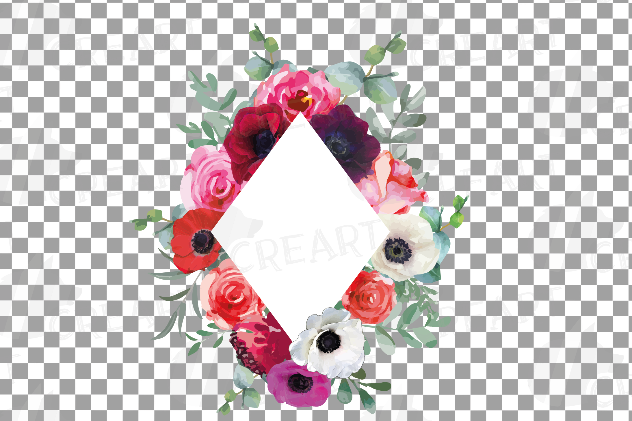 Watercolor elegant floral borders, rose, anemone frames example image 21