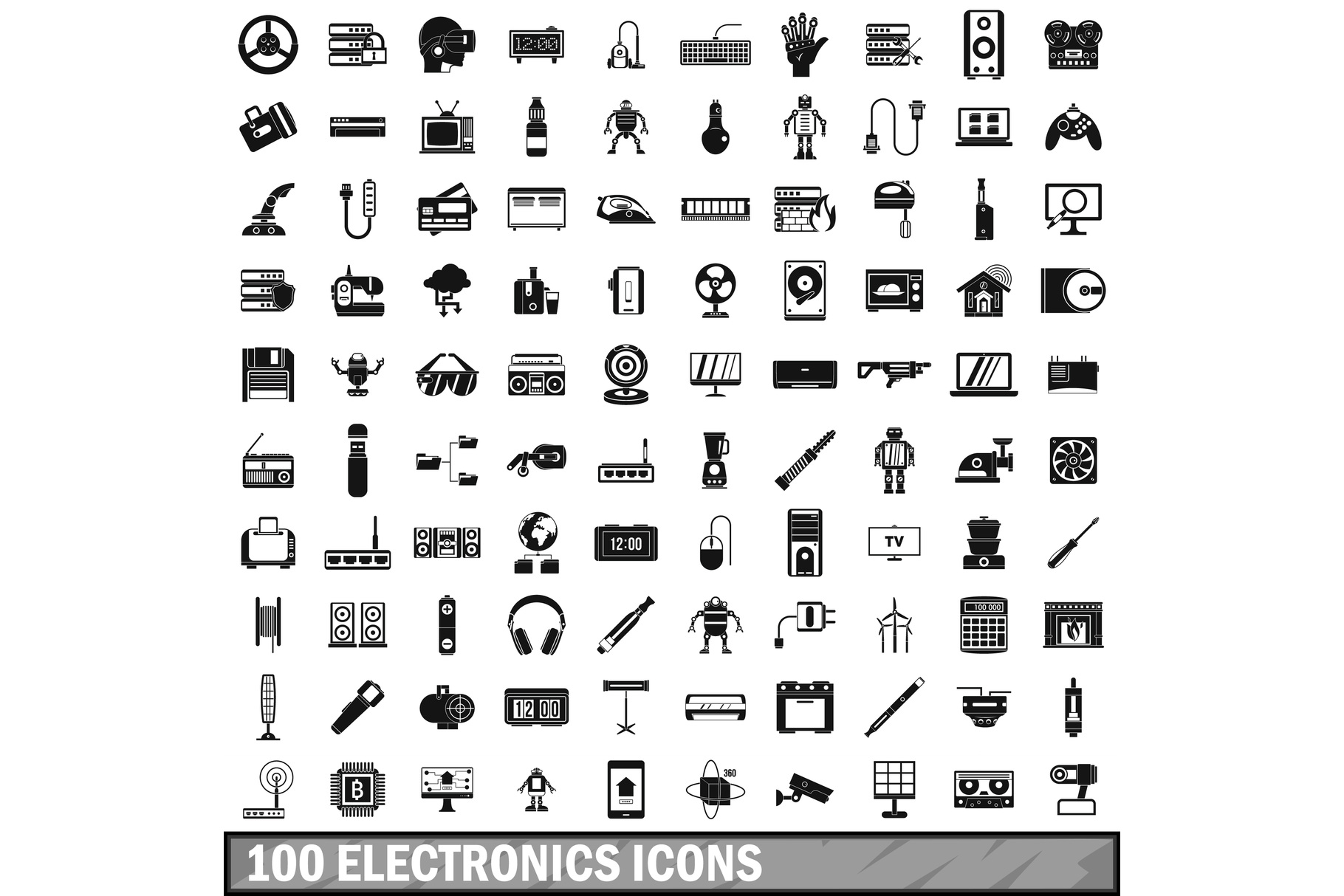 100 electronics icons set, simple style example image 1