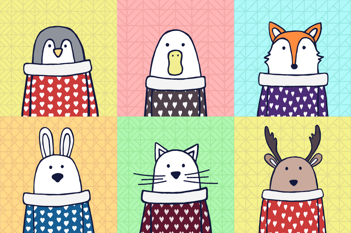 Cute animals. Funny hand drawn illustrations example image 5