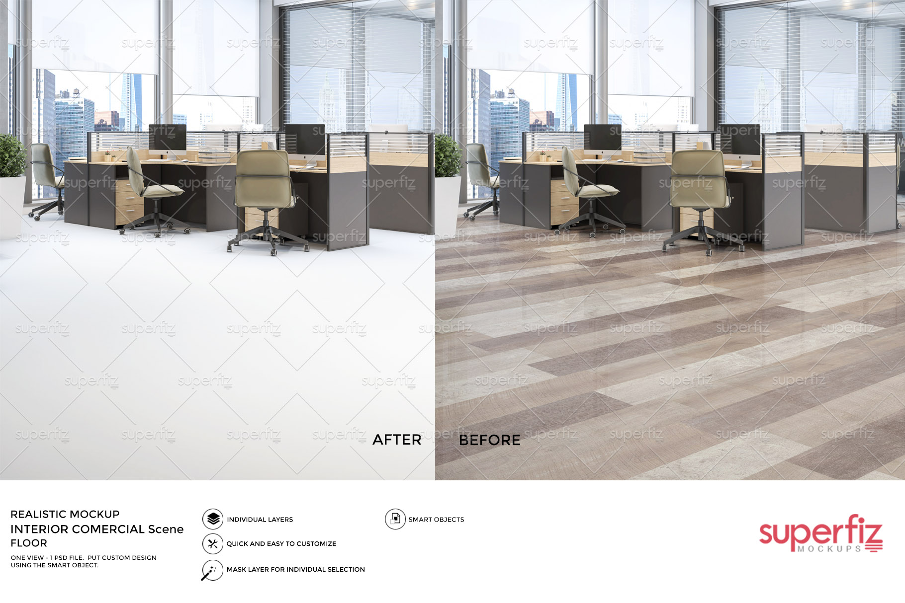 Blank Floor Commercial PSD Mockup SM79 example image 4