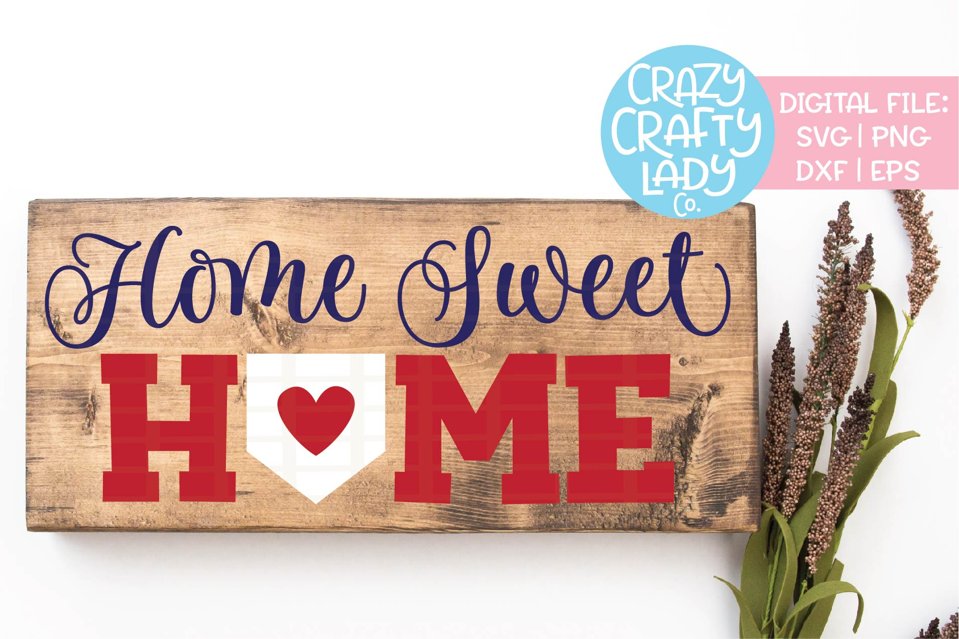 Home Sweet Home Baseball Sign SVG DXF EPS PNG Cut File example image 1