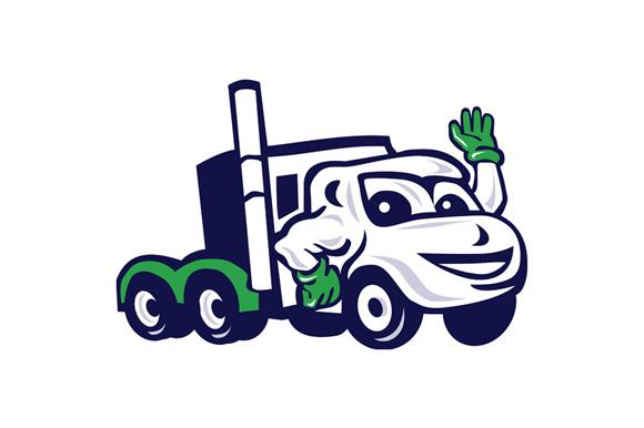 Semi Truck Rig Waving Cartoon example image 1
