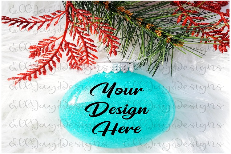 Teal Christmas Glitter Ornament Mock up example image 1