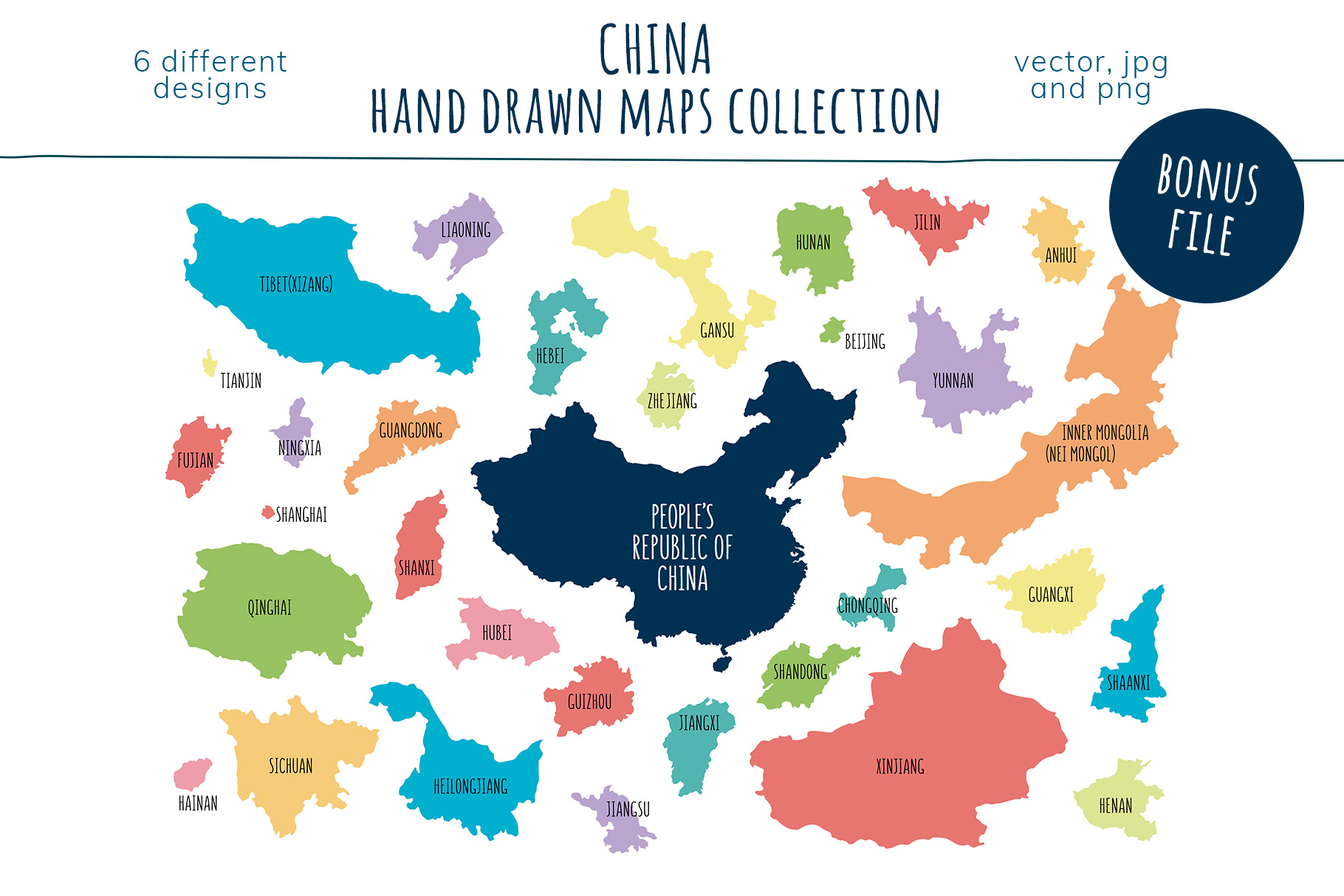 Maps of China. Hand drawn collection example image 8