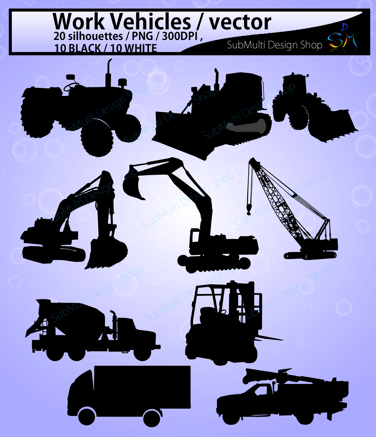 work vehicle / work vehicles silhouette / SVG file / Construction Machines Silhouettes / printable vehicle silhouette / vector EPS example image 2