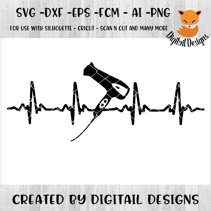 Hairdresser EKG SVG - png - eps - dxf - ai - fcm - Cosmotologist SVG - Silhouette - Cricut - Scan N Cut - Stylist SVG example image 1