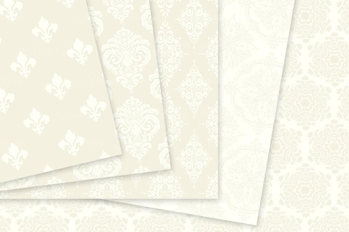 28 Ivory Damask Patterns - Wedding Seamless Digital Papers Bundle example image 5