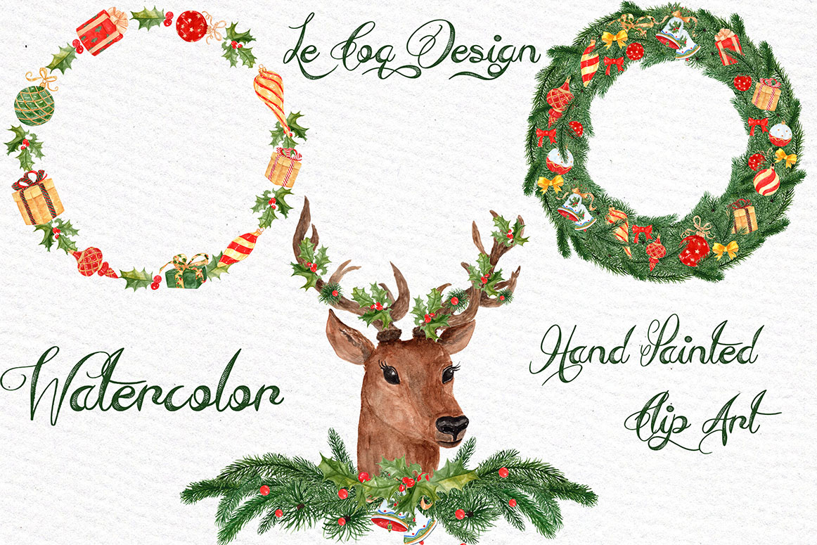 Watercolor Christmas Wreaths clipart example image 3