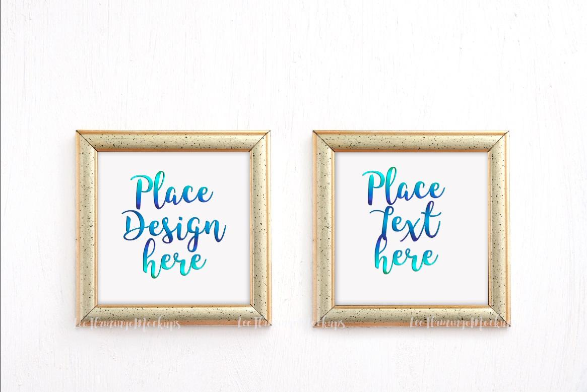Bundle set of 4, set of 2 frames and one golden square frame mockup minimal art display example image 6