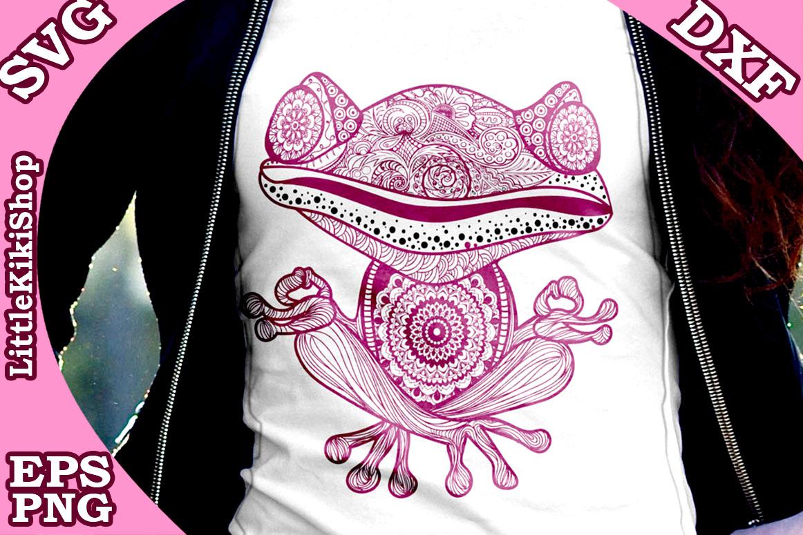Yoga Frog Svg, MANDALA FROG SVG, Yoga Svg,Funny Frog Svg example image 1