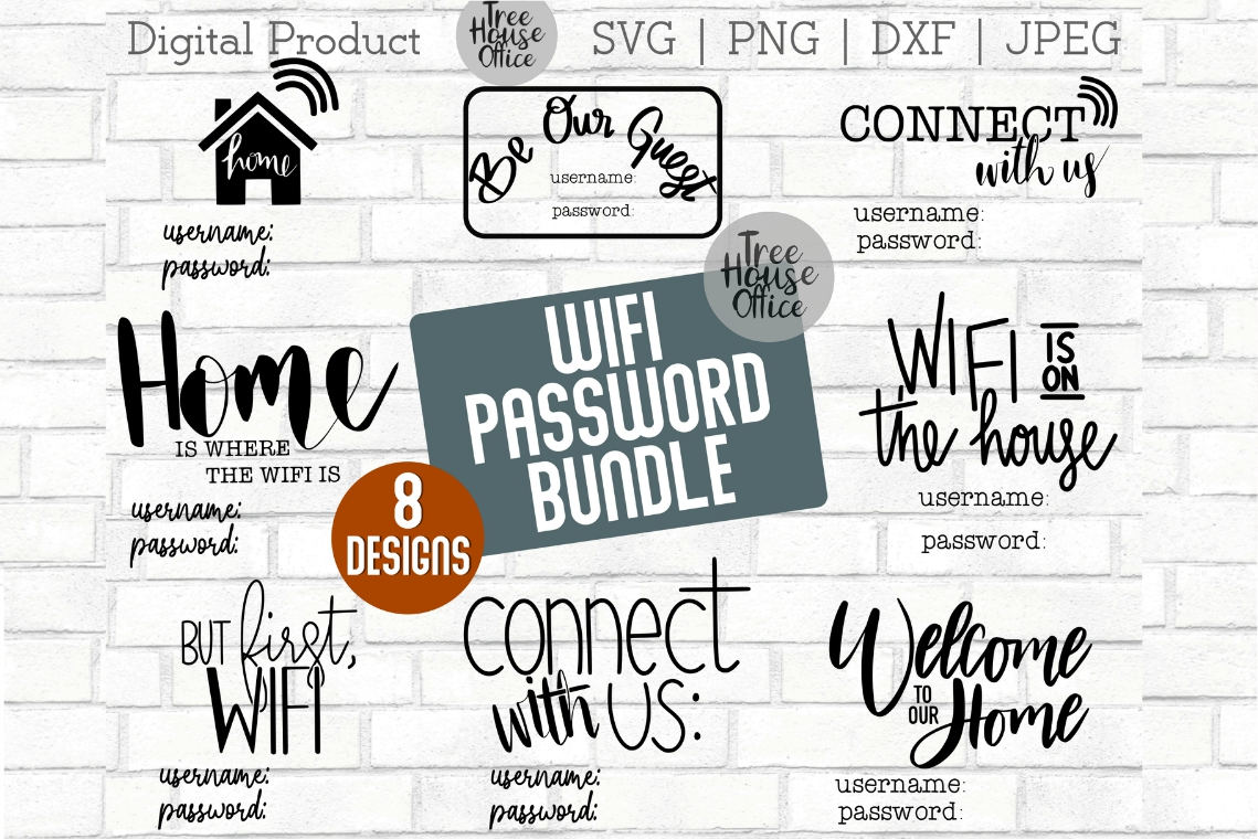 Wifi Sign Bundle Guest Wifi Password Funny WIFI SVG PNG JPG example image 1