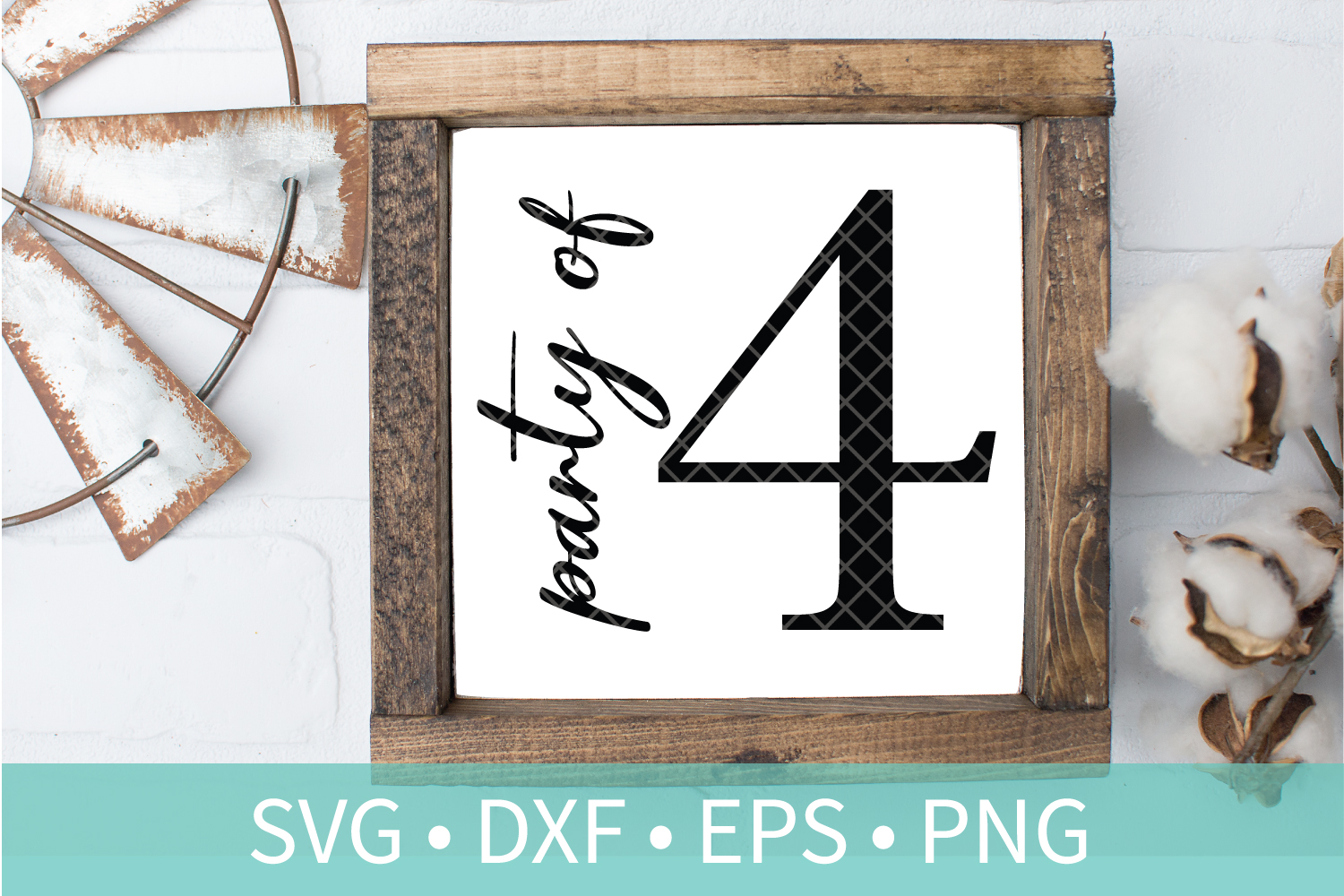 Party of 4 Family Sign SVG DXF EPS PNG Clipart Cut File example image 1