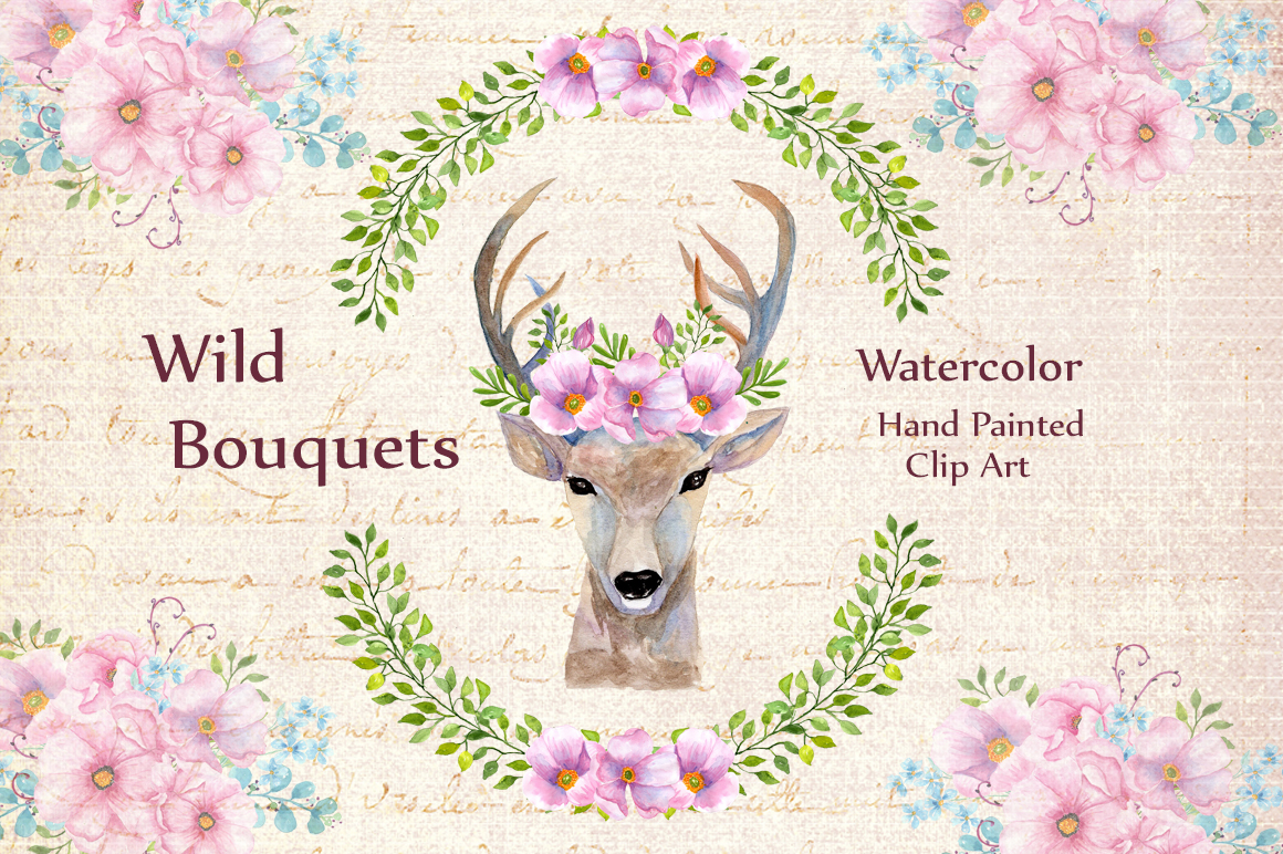 Boho wedding floral clipart example image 1