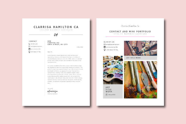 4 Sheets Canva Resume and CV Template Modern Professional example image 5