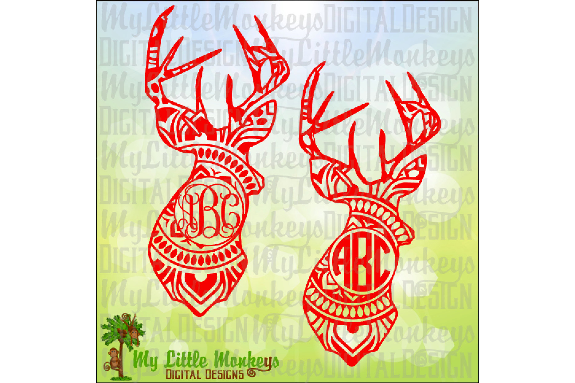 Deer Head Mandala Monogram Base example image 1