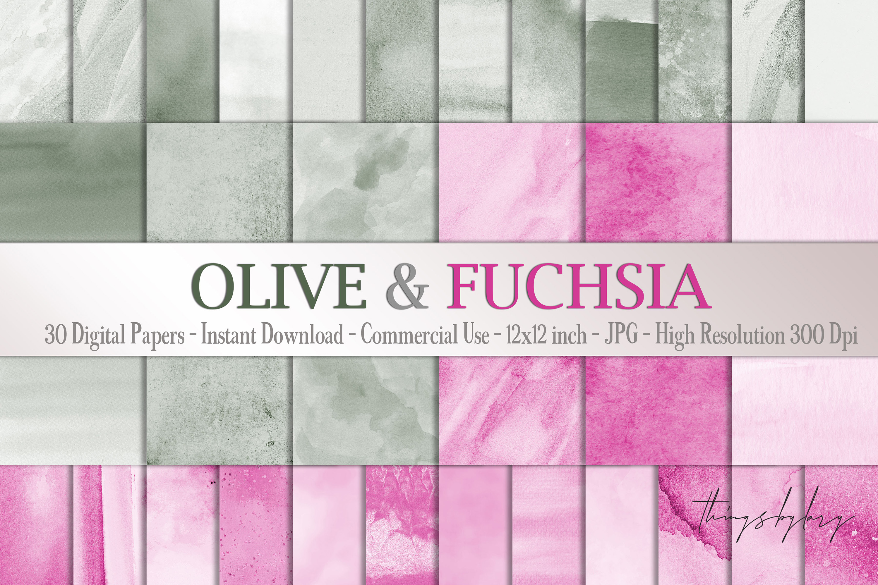 30 Ombre Olive & Fuchsia Painted Watercolor Digital Papers example image 1