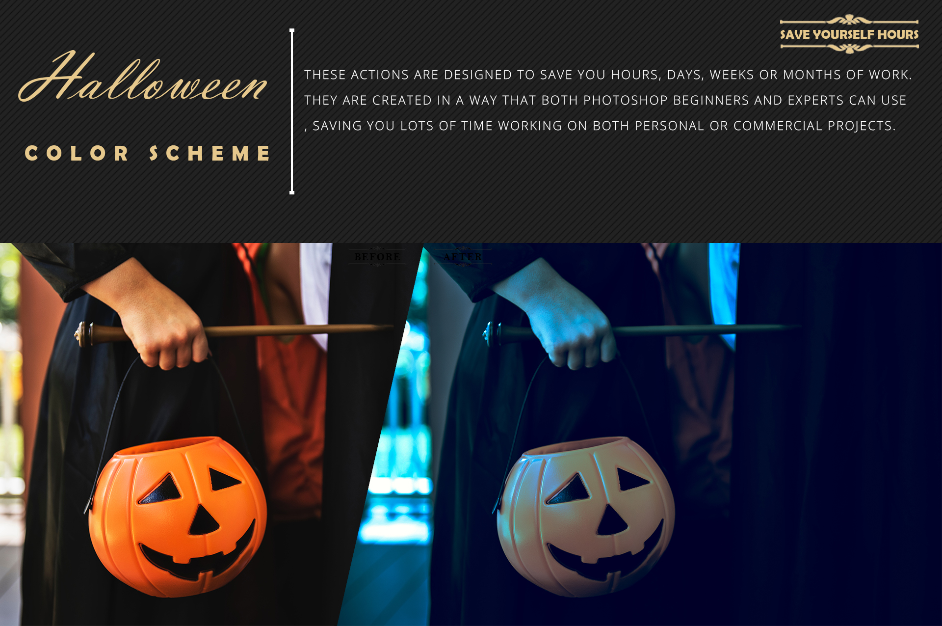 Halloween Theme color grading Photoshop Actions example image 7