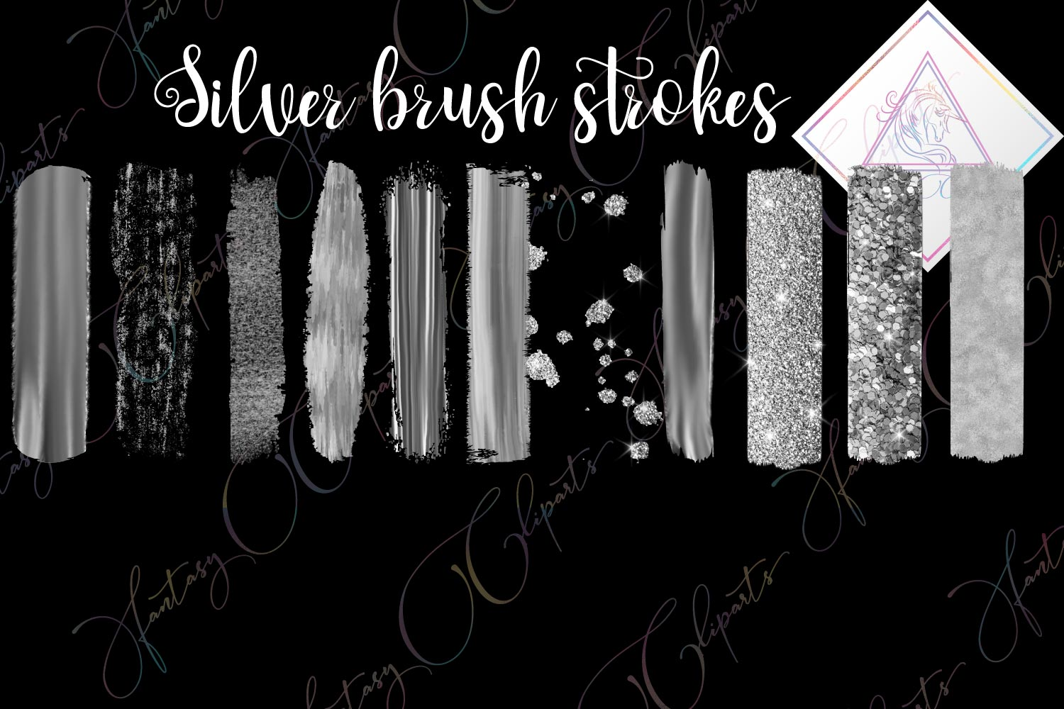 Silver Brush Strokes Clipart example image 1