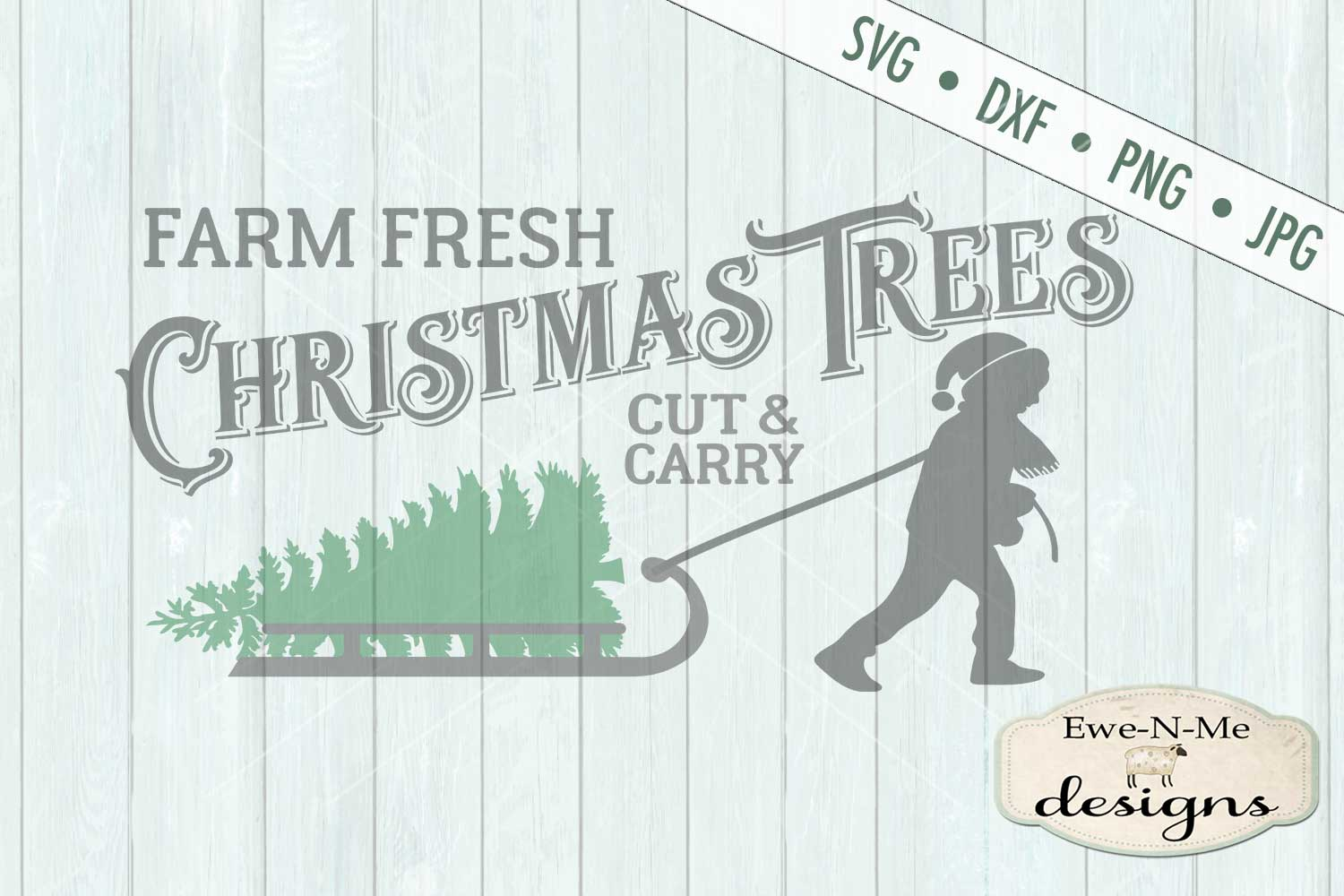 Christmas Trees Boy Pulling Sled SVG DXF Files example image 2