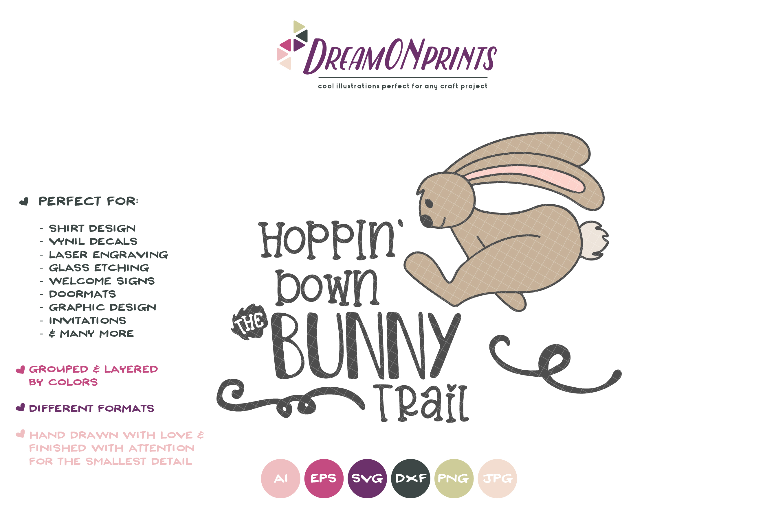 Hopping Down the Bunny Trail SVG - Funny Easter SVG example image 2