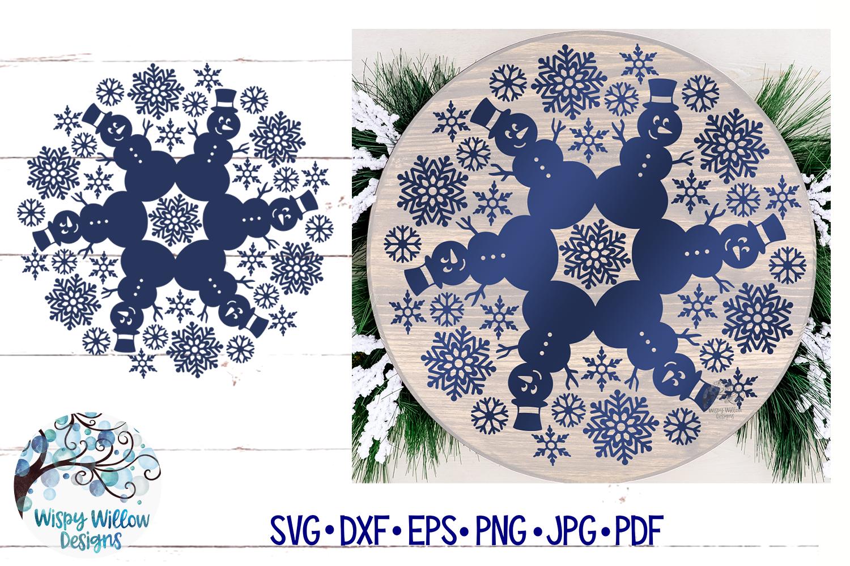 Snowman Mandala SVG | Winter Mandala SVG Cut File example image 4