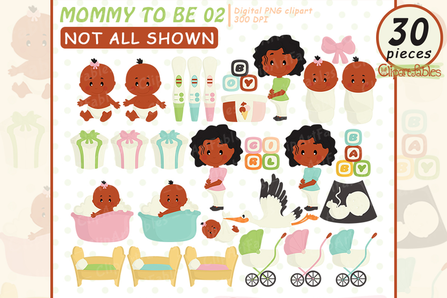 Cute Mommy to be art, African American Pregnancy Clipart example image 1