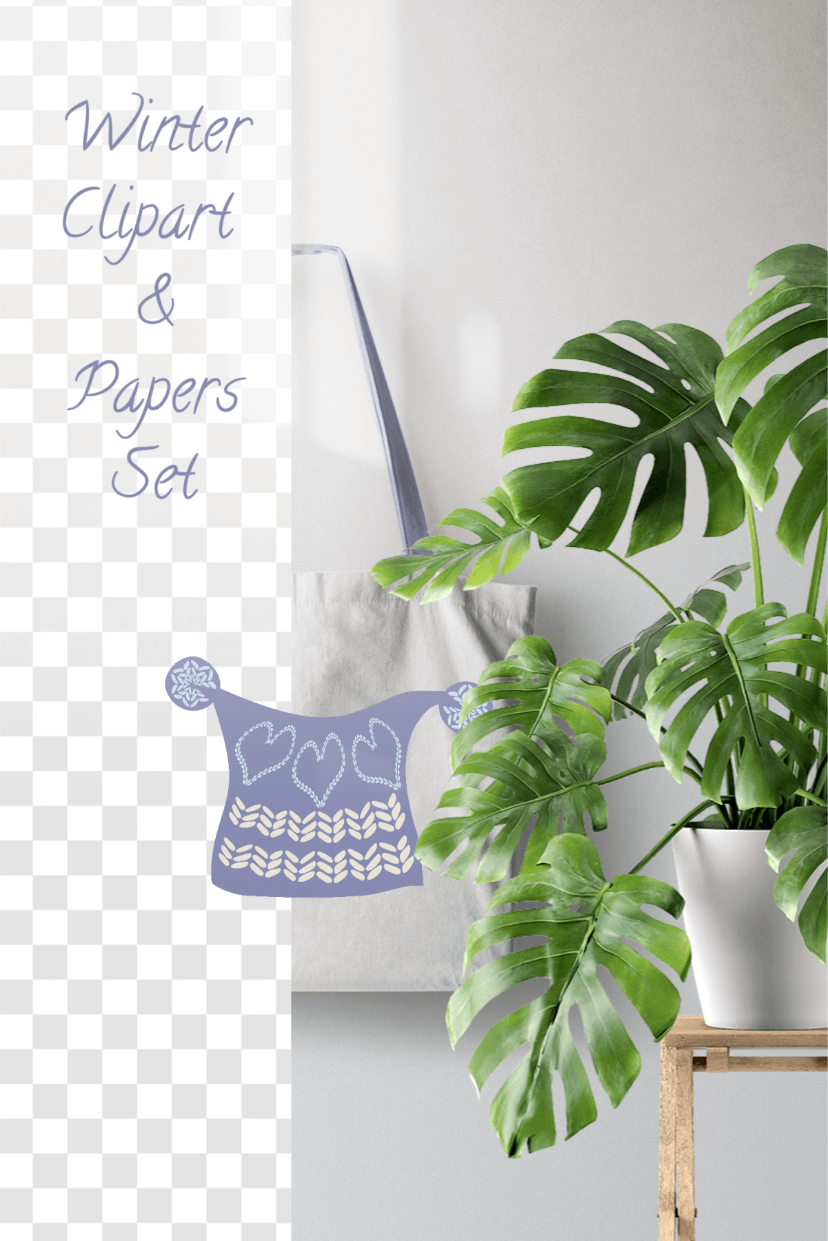 Winter Knitted Accessories Clipart & Scrapbooking Papers Set example image 16