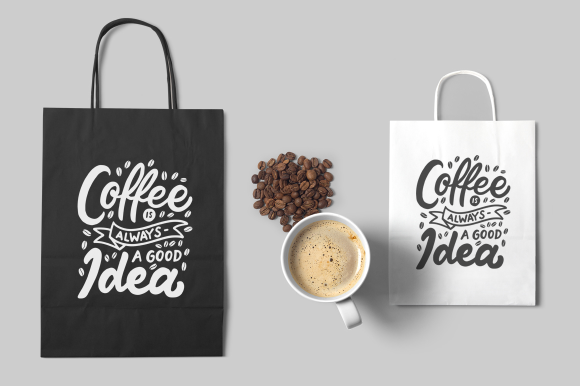 Set of Hand Lettering Coffee Quotes - SVG Cut File Bundle example image 3