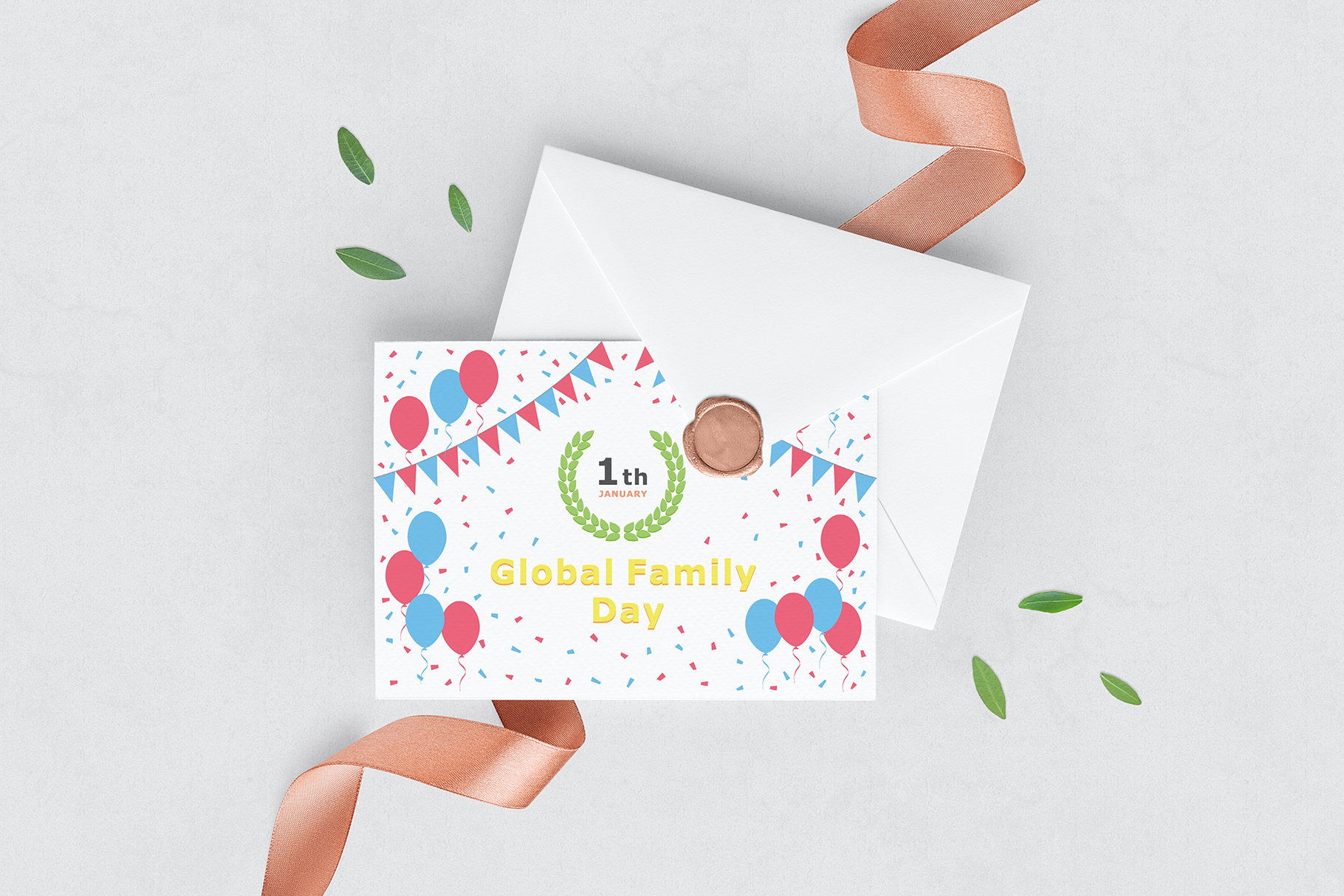 January 01 - Global Family Day. Greeting Card. example image 5