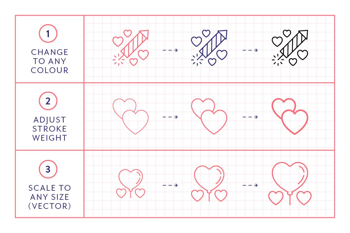 Line Icons  Valentines example image 7