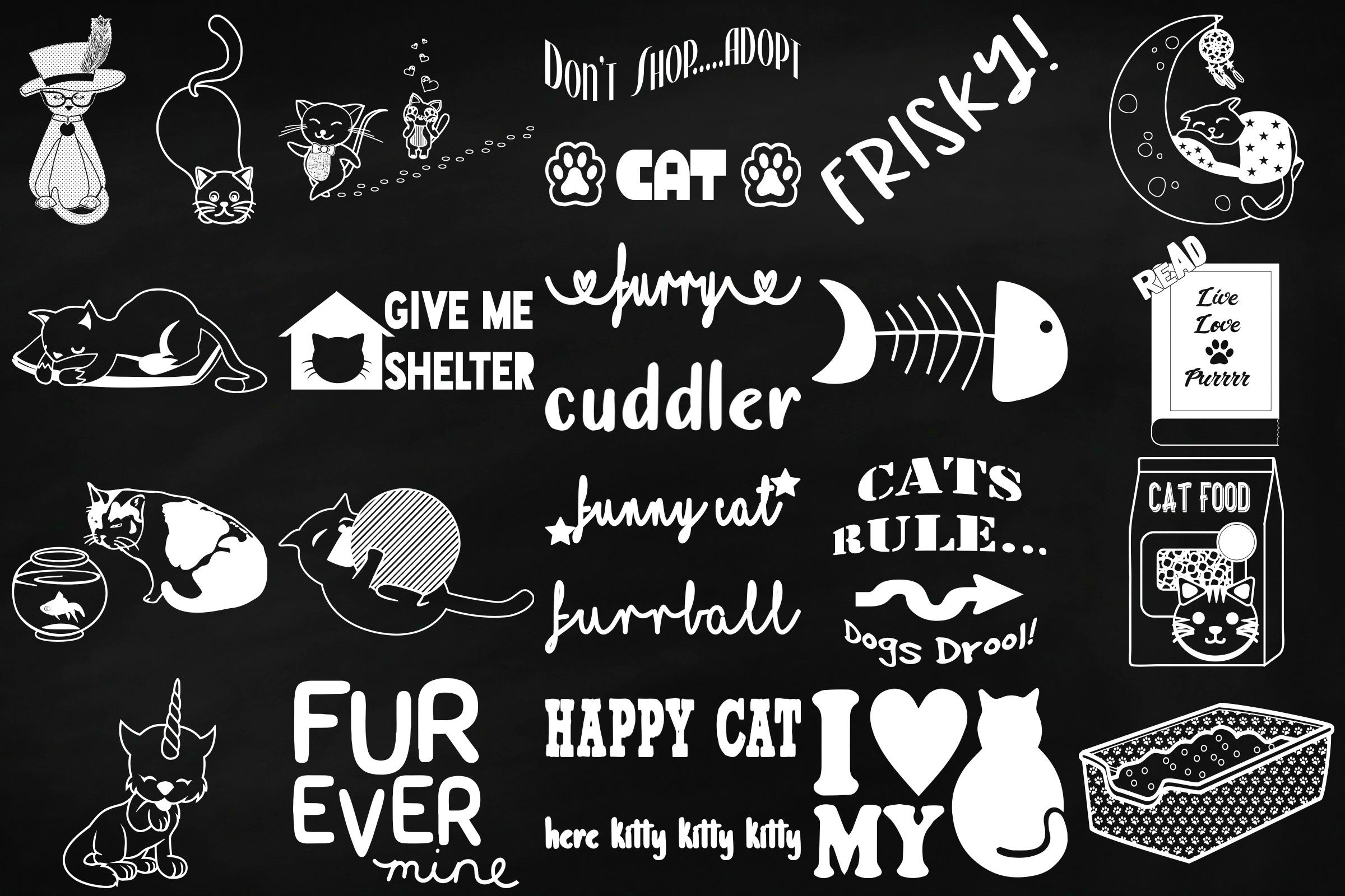 Chalk Cat Doodles Clip Art example image 4