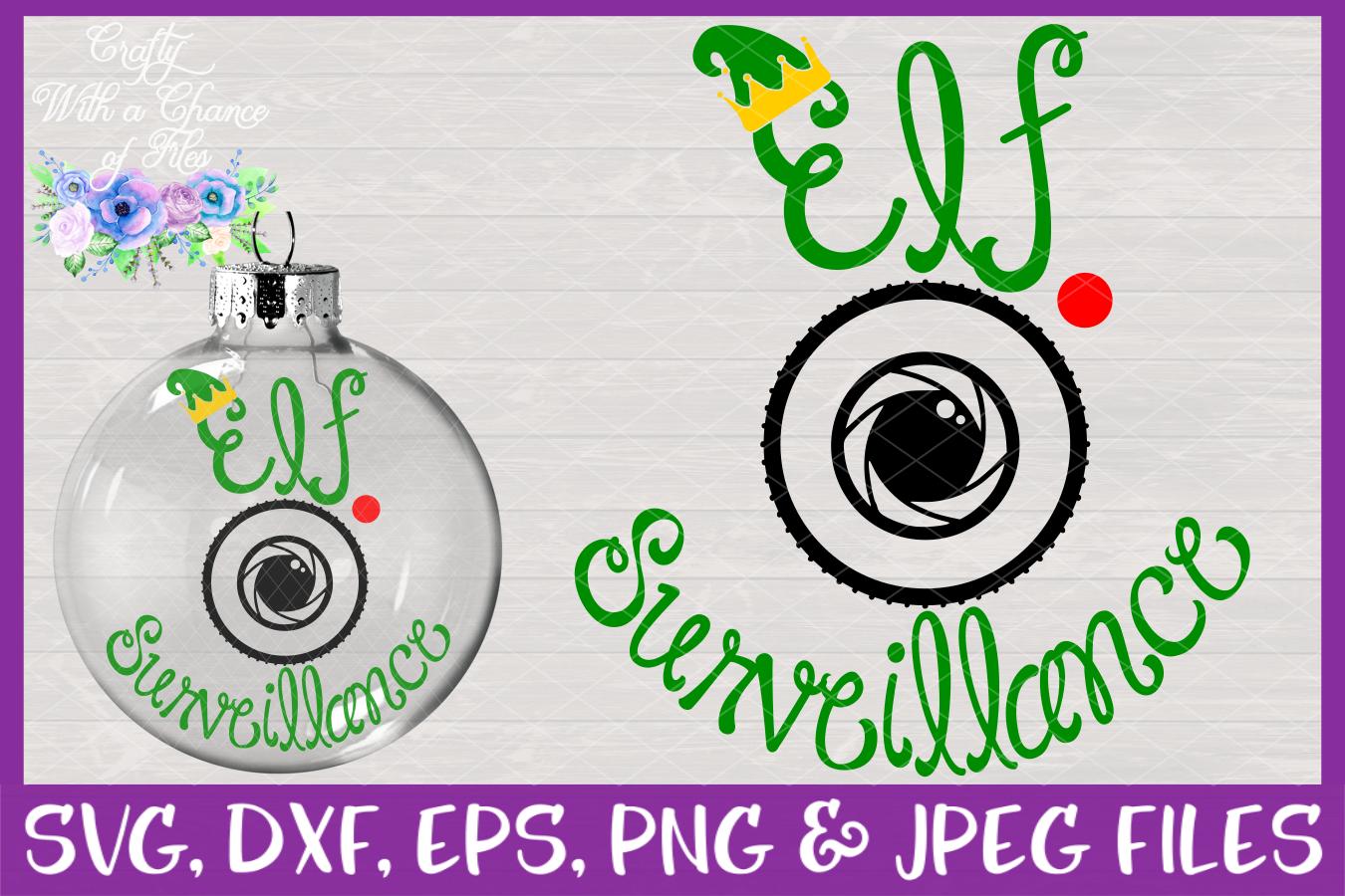 Elf Surveillance SVG - Christmas Ornament Design example image 1