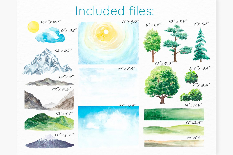 Landscape clipart Watercolor landscape constructor Nature example image 2
