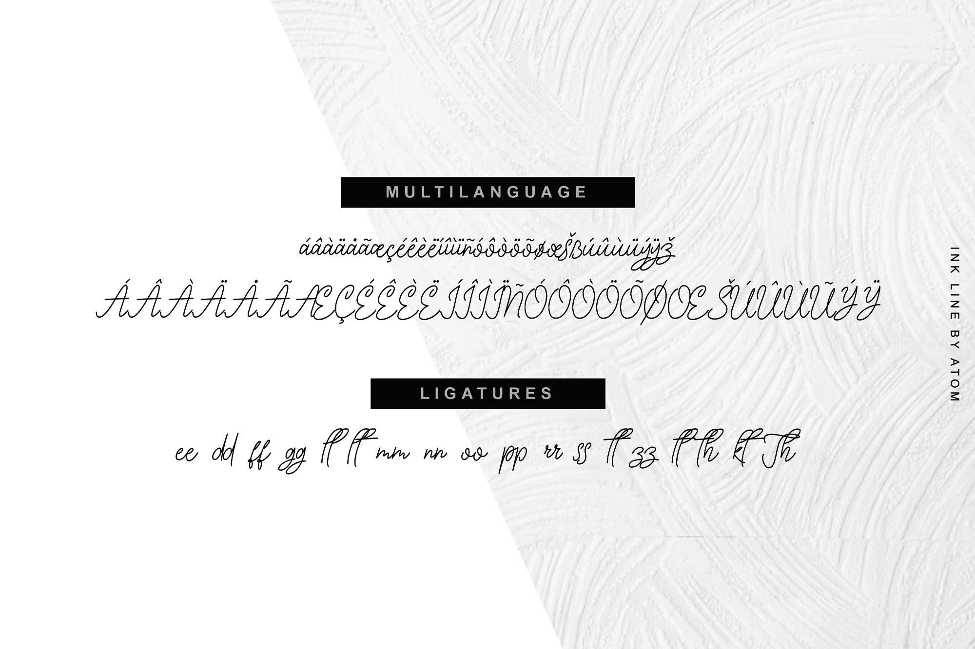 Ink Line   Modern Script Font example image 4