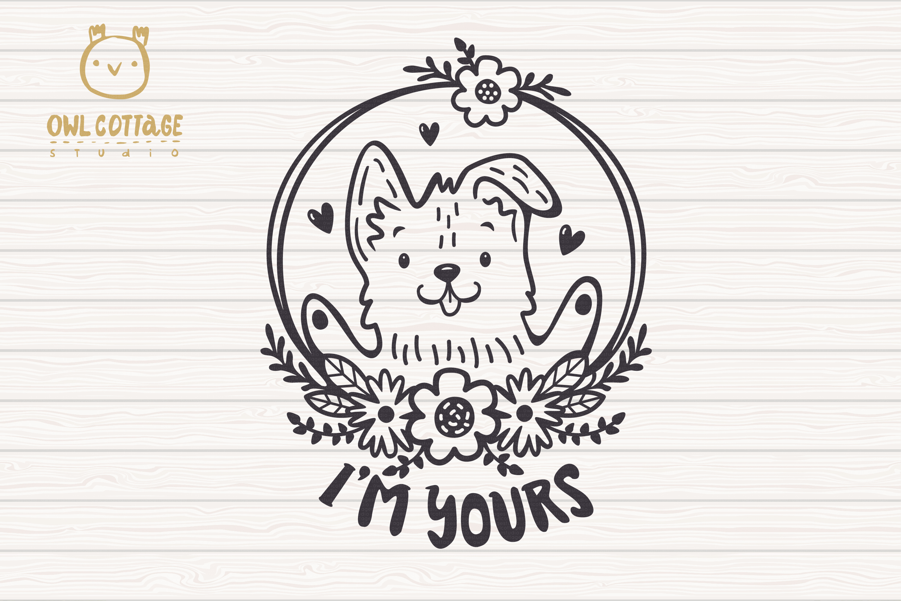 Valentine Dog svg , Puppy with floral decor Svg, Valentine's example image 2