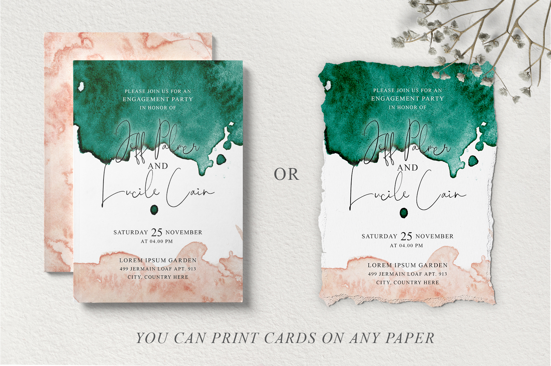 Green and Pink Wedding Invitation Suit example image 6