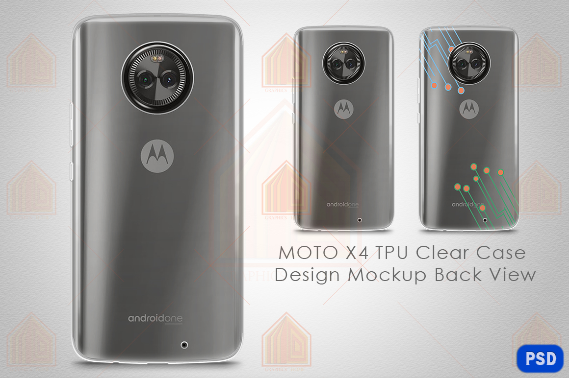 MOTO X4 UV TPU Clear Case Mockup Back View example image 1