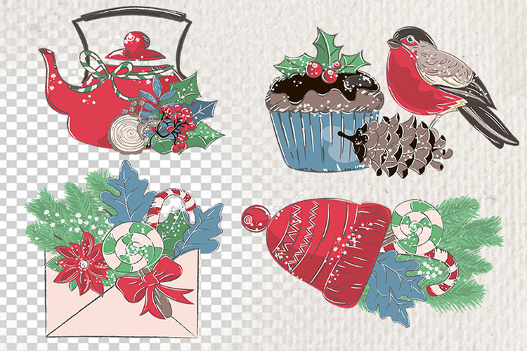 MERRY CHRISTMAS Color Clipart Illustration Set example image 6