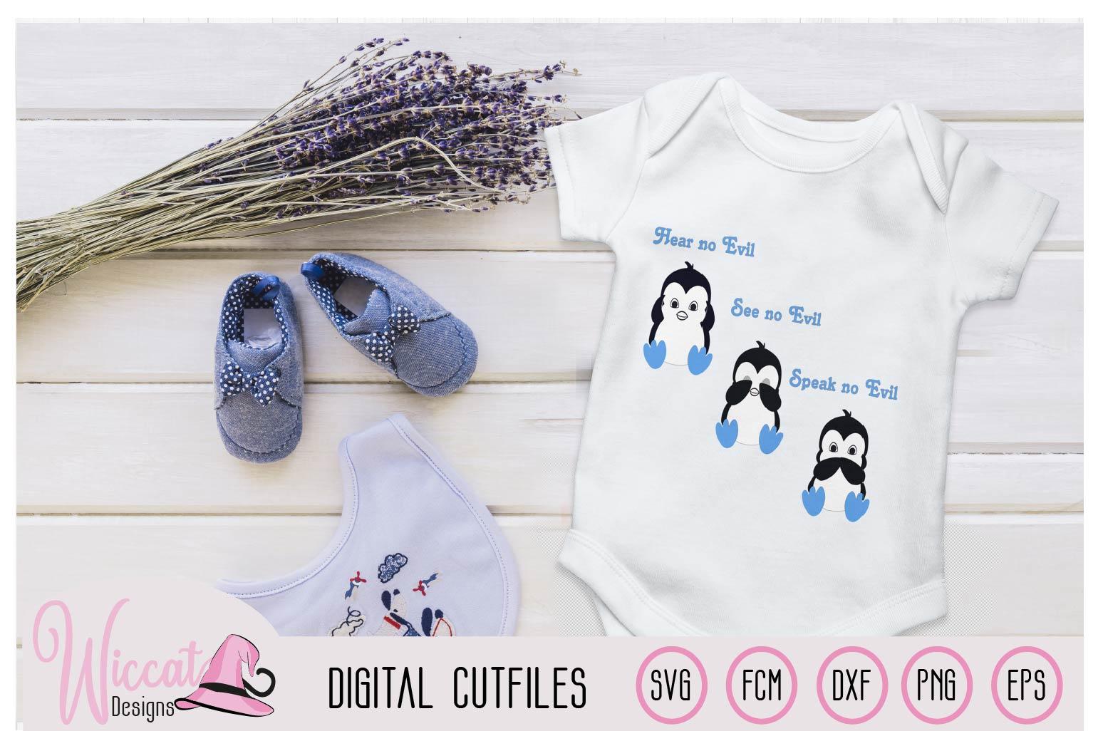 Boy Penguin svg, Hear no evil see no evil craft file example image 1
