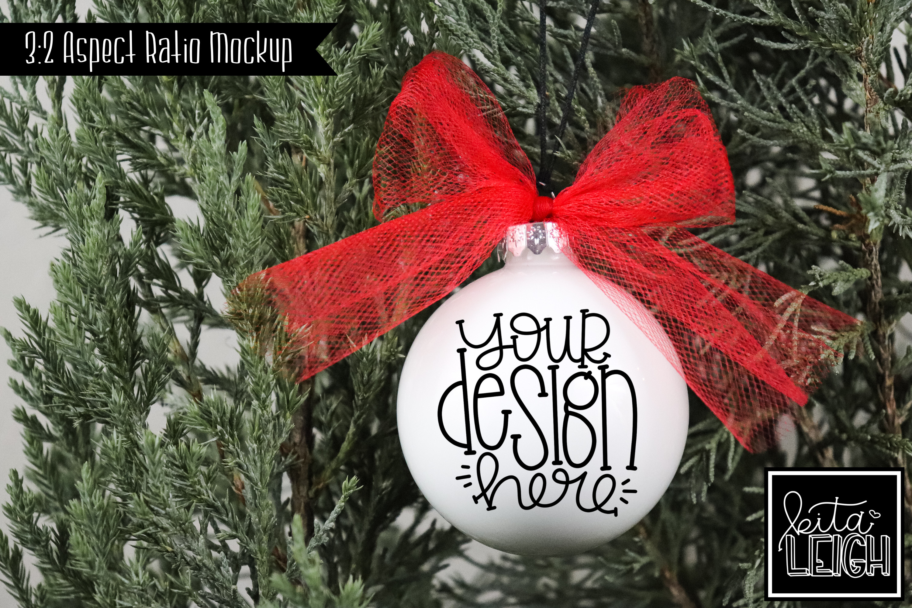 Red Tulle Round Ornament Mockup example image 1