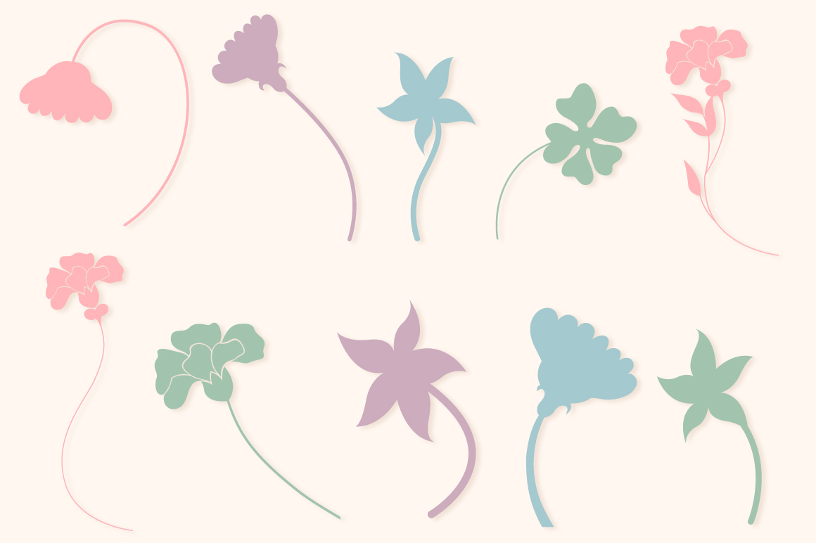 Floral Silhouettes SVG Cut Files Pack with 35 Items example image 3