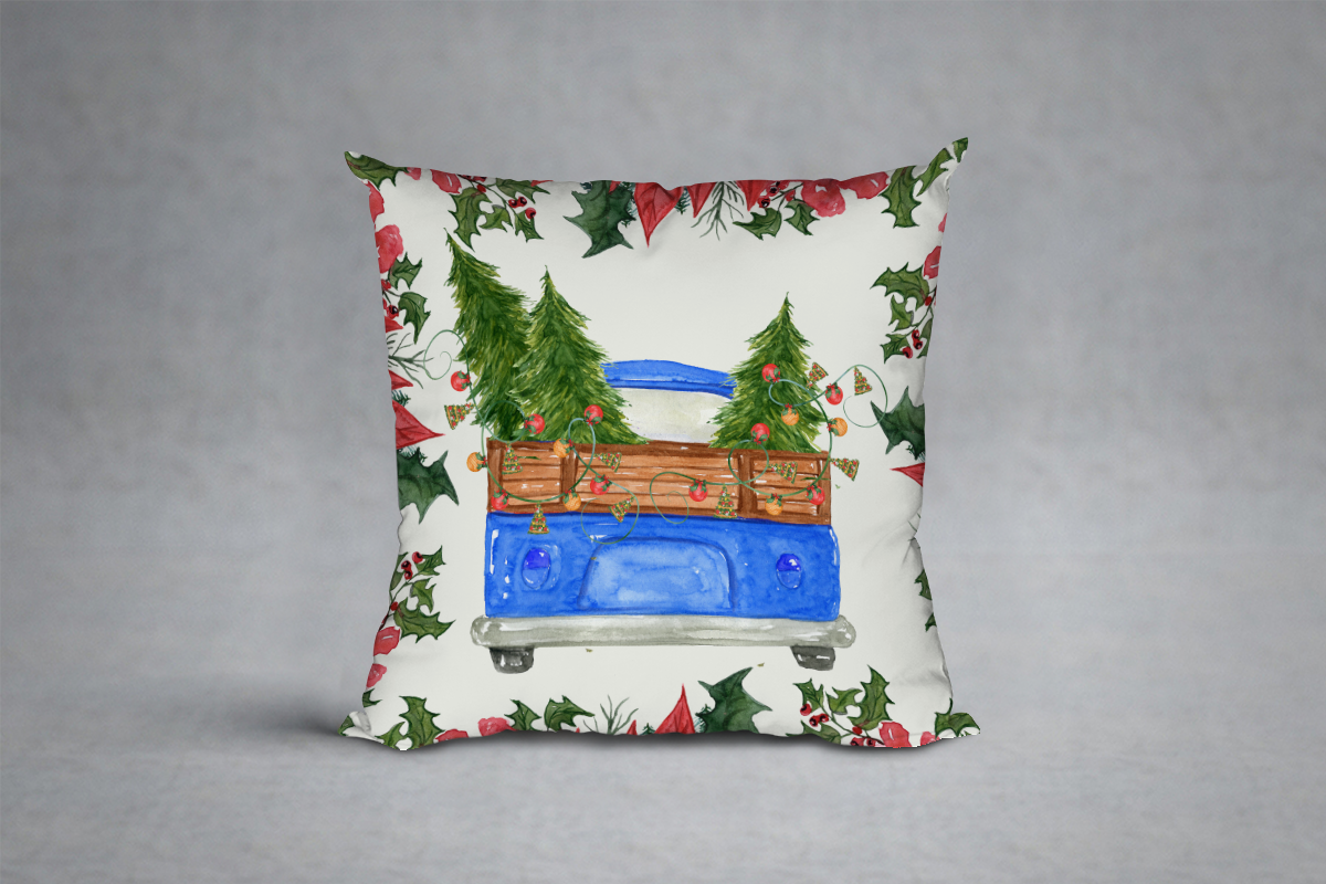 Watercolor Christmas Trucks clipart example image 8