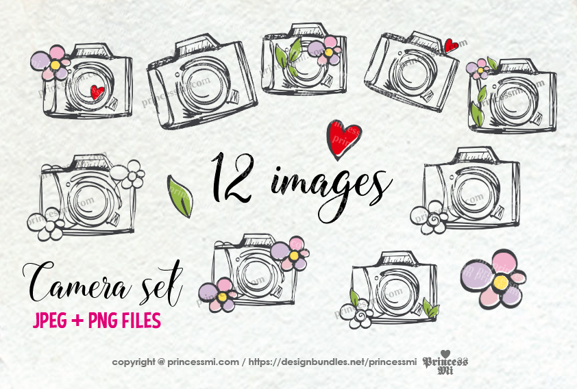 cute and fun camera clipart set, with flowers, love hearts example image 2