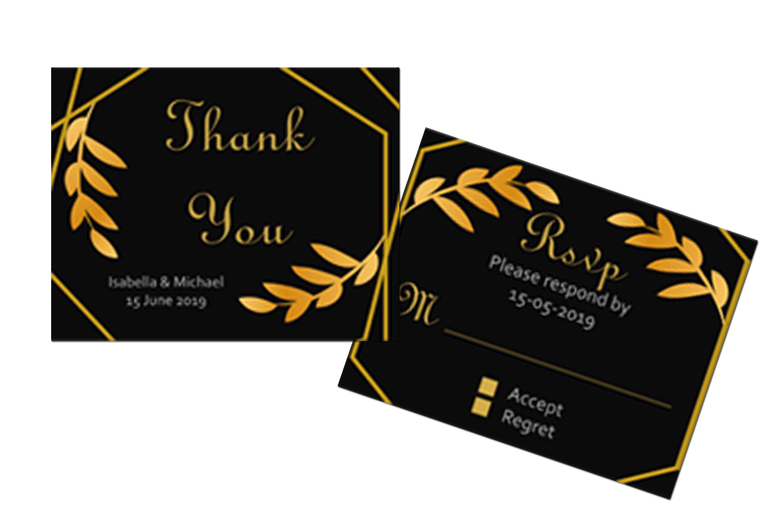 Elegant Golden Leaf Wedding Invitation Kit example image 4