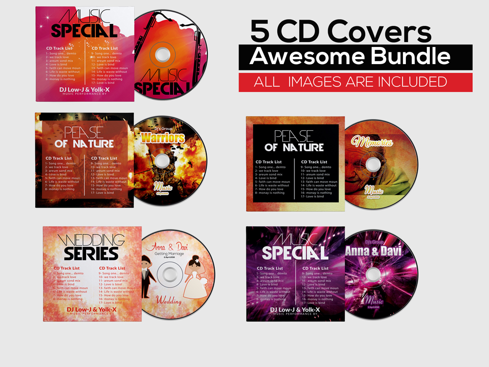 5 CD Covers Templates Bundle example image 1