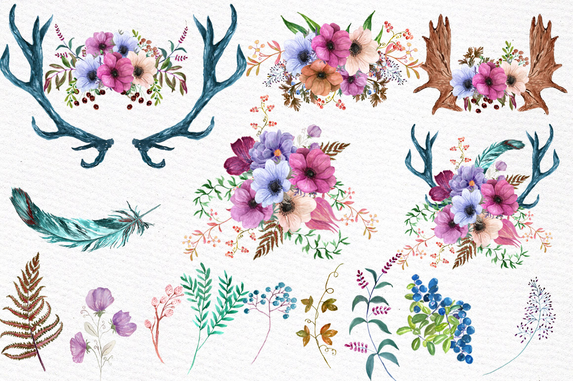 Watercolor floral elements example image 2