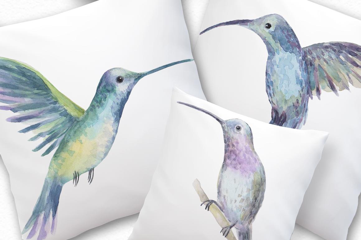 Watercolor birds set example image 3