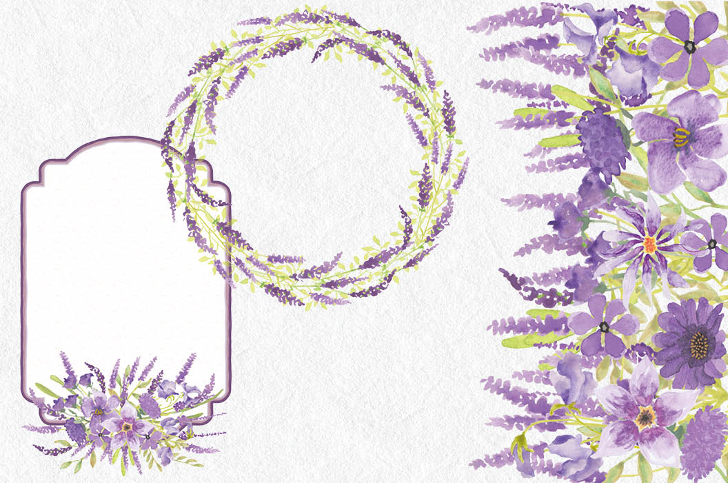 Watercolor clip art bundle in Lavender example image 6