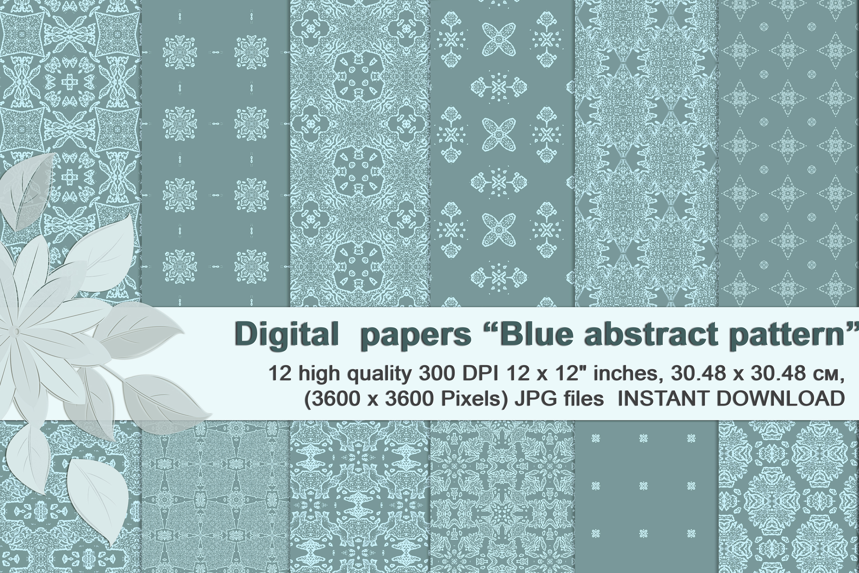 Blue abstract patterns, gentle digital paper example image 1